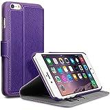 Qubits Étui portefeuille avec support pour Apple iPhone 6Plus/6S Plus–Violet