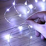 Criacr Solar Powered String Lights, (100 LED 2 Modes) Starry Fairy Lights, 33 ft/10m Solar Fairy Lights, Waterproof 1.2 V Portable with Light Sensor for Patio, Garden, Home, Wedding, Party (White) Bild 3
