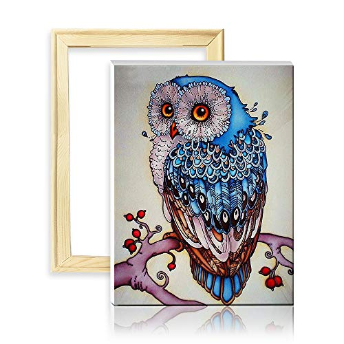 ufengke Blaue Eule und AST 5D Diamant Malerei Set Mosaik DIY Diamond Painting nach Zahlen Kreuzstich Stickbilder, mit Holzkeilrahmen, Design 25x35cm