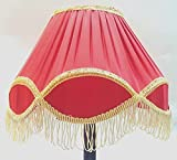 "RDC 12"" Round Pleated Red with Golden Lace Border with Frills Lamp Shade for Table Lamp or Floor Lamp"