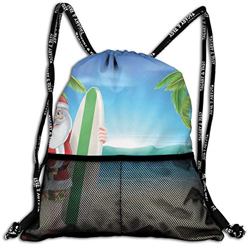 RAINNY Drawstring Backpacks Bags,Santa Claus with Trunks On The Beach and Surfboard Sunny Hot Christmas Theme,5 Liter Capacity,Adjustable