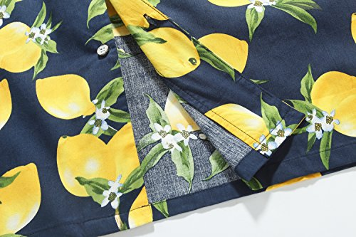 SSLR Herren Blumen Slim Fit Button Down Casual Langarm Hemd Blau Gelb