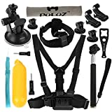 wortek GoPro Zubehör 14 in 1 Set/Hero 2 / Hero 3/3+ / Hero 4 (Kopfgurt, Brustgurt, Haltergungen, Adapter, Float Stativ, Selfie Stick)