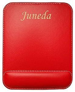 informatica juneda: Almohadilla de cuero sintético de ratón personalizado con el texto: Juneda (ciud...