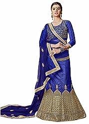 Maroosh BLUE Color BANGALORI SILK Embroidery Designer Lehenga