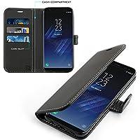 Samsung Galaxy S8 Hülle, KingShark [Ständer Funktion] Samsung Galaxy S8 Schutzhülle, Premium PU Leder Flip Tasche Case mit Integrierten Kartensteckplätzen und Ständer für Samsung Galaxy S8-Leder Serie schwarz