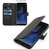 Samsung Galaxy S8 Hülle, KingShark [Ständer Funktion] Schutzhülle, Premium PU Leder Flip Tasche Case - Schwarz