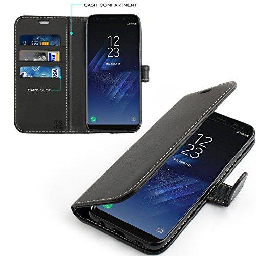 Samsung Galaxy S8 Hülle, KingShark [Ständer Funktion] Samsung Galaxy S8 Schutzhülle, Premium PU Leder Flip Tasche Case mit Integrierten Kartensteckplätzen und Ständer für Samsung Galaxy S8-Leder Serie schwarz (Tasche Leder)