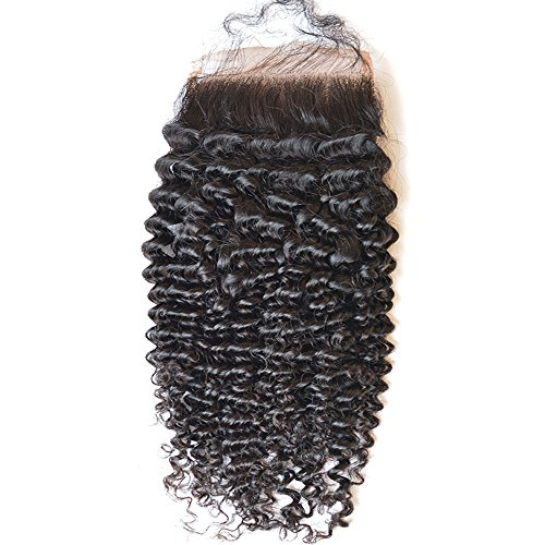 "Giannay Hair 100% Virgin Brazilian Human Hair Middle Way Part Deep Curly (4""4"") Top Lace Closure Natural Black with Baby Hair 10"""