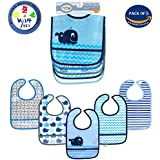 Wishkey Plastic Waterproof Multicolor Printed Velcro Feeding Bibs With Pocket For 6 Months To 1 Years Baby Boy Set Of 5