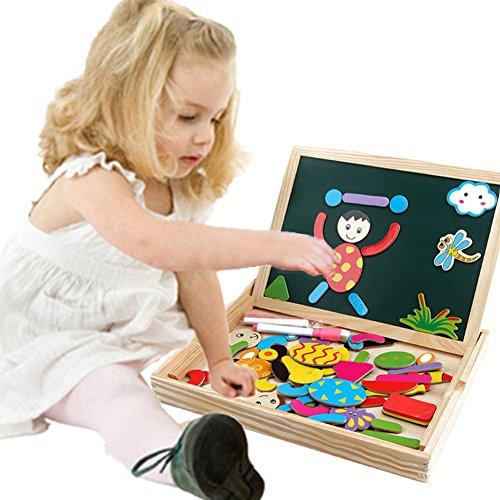 Juguete de Madera Pizarra Blanca Tablero Magnéticos Educativoscon Caballete Puzzle para Regalos Niños Infantil de 3 4 5 Años