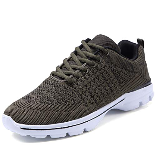 Lavibelle Men's Trainers Lightweight Running Shoes Outdoor Breathable Sneakers Walking Sneakers Army Green Size 7
