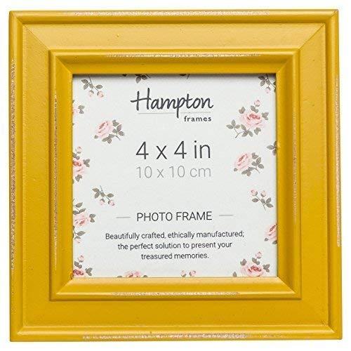 Hampton Frames Paloma Cadre Photo carré, Bois, Jaune Moutarde, 14.5 x 14.5 x 2.5 cm