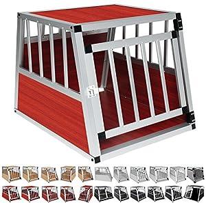 WOLTU® HT2060dc Cage aluminium de chien avec 1 porte,cage de chien boîte de transport,Taille environ 69 x 54 x 51cm,Décor en Bois foncé Argent