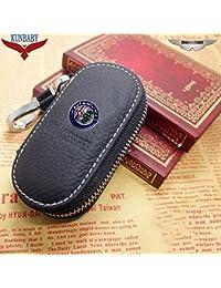 25380bc22f Custodia portachiavi da uomo in vera pelle per chiavi dell'auto, portafogli  alla moda