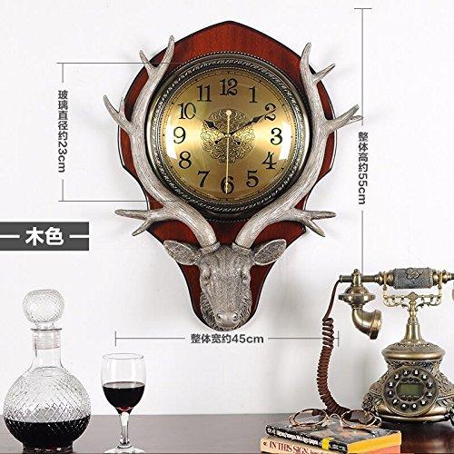 OLILEIO Cerf européen-américain Salon Horloge murale Horloge Réveil Quartz décoration créative rétro,20 pouces (50,5 cm de diamètre), la caféine [1708]