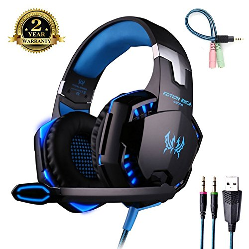 Cuffia gaming con microfono [ led luce ] regolatore di volume cuffie da gioco con stereo bass gaming headset per ps4 pc xbox one s nintendo