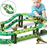 WOSTOO Dinosaur Tracks Toy Set Car Race Track Train Tracks Set with 1