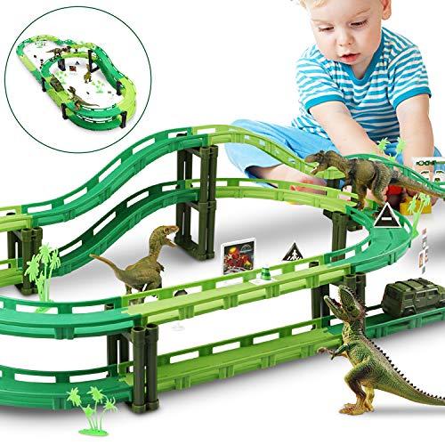 WOSTOO Dinosaure Voiture, Toys Dinosaure Race Tracks Accessoires de Piste de Voiture, Enfant Jouet Circuit Voiture Dinosaure Enfant Cadeau Garcon Fille