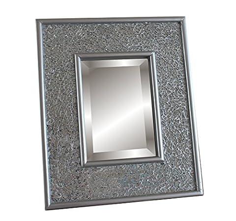 Miroir argent rectangulaire mosaïque pour vanity - 30x25 cm - Maquillage et Cosmétique - Posé ou accroché au mur