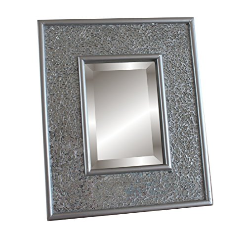 Glamour by Casa Chic Mosaic Silver Vanity Mirror - 30x25 cm - Makeup and Cosmetics - Standing or Wall Hung