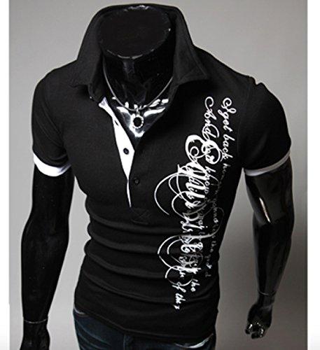Herren Sommer lässig Poloshirt T-shirt Kurzarm Schwarz