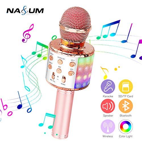 bluetooth Karaoke Mikrofon NASUM, Tragbares drahtloses Mikrofon für Kinder und Erwachsene, Dynamische Lichteffekte, Drahtloses Handmikrofon mit Sprecher, Geeignet für iOS, Android und PC.