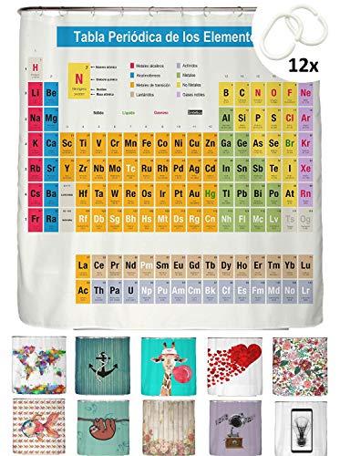 con 12 Anillas Color Gris Cortina de Ducha Resistente al Color y al Moho Abakuhaus Mandala Resistente al Agua dise/ño Moderno 175 x 200 cm