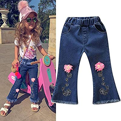 TuHao Bell-Bottoms Jeans for Kid Girls, Vintage Skinny Base Pants Floral Stretchy Denim Trousers Blue : everything £5 (or less!)