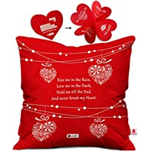 Indigifts Micro Satin Cushion Cover (16x16-inch, Red)