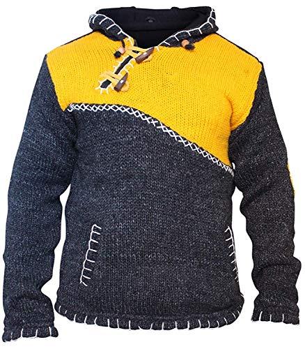hluss Halsausschnitt super warm Pulli Style Pullover, Hippy Boho aus Wolle Kapuzenpulli - Gelb, X-Large ()