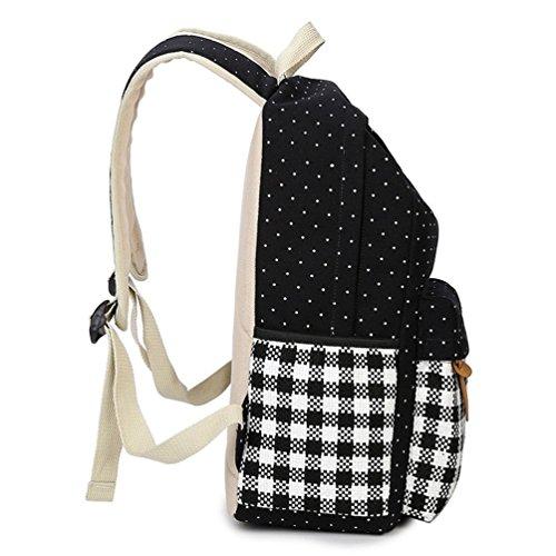 Go Further Neuer Stil Punktblumenmuster Gitter weben Leinwand roten Rucksack für Frauen Schwarz