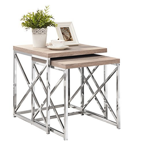Natural Reclaimed-Look/Chrome Metal 2 Piece Nesting Table Set by Michael Anthony -