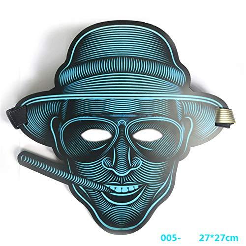 Queta LED Beleuchtung Soundkontroll Maske Halloween Scary Cosplay Maske Leuchtenden EL Draht Grimasse Leuchtmaske Fest Karneval Christmas Party Kostüm (Gentleman)