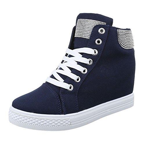 Ital-Design - Pantofole a Stivaletto Donna Blu scuro