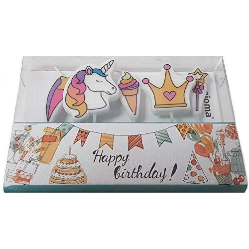 Set de velas unicornio, 5 uds.