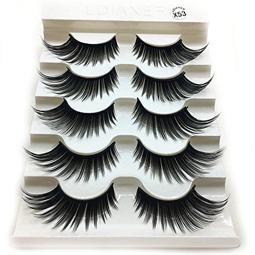 masrin 1 Schachtel mit luxuriösen 3D-Wimpern, Flauschige Streifen, Lange natürliche Wimpernparty...