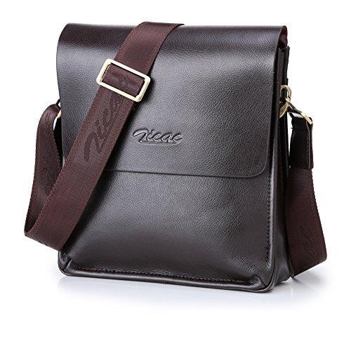 Zicac-Bolso del hombro de la cartera Para hombre La bolsa de mensajero / Espacio suficiente para mantener Libros / iPad Oficina (marrón)
