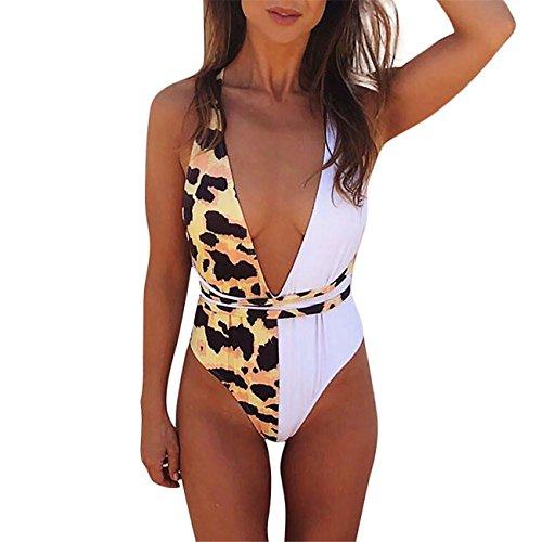 LHWY-BIKINI Donna Costume Sexy Estate Push-Up Bikini Intero Con Scollo A V In Leopardo (l, bianco)