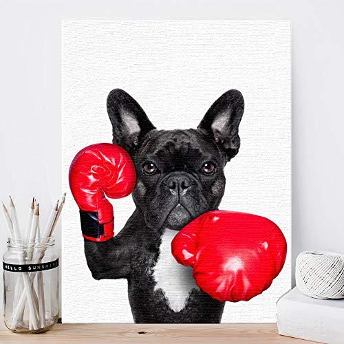 KINYNE Perros De Mascotas Pintura Negro Brindle Bulldog Francés Perro Cuadro Sobre...