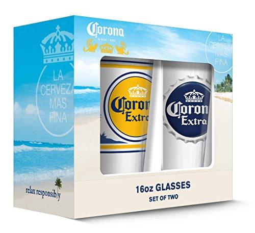 Corona Extra Etiketten Pub Glas (transparent), 2Stück