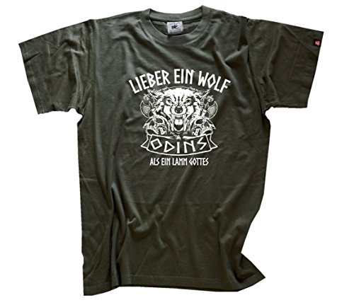Viking-Shirts Lieber ein Wolf Odins T-Shirt Olive L