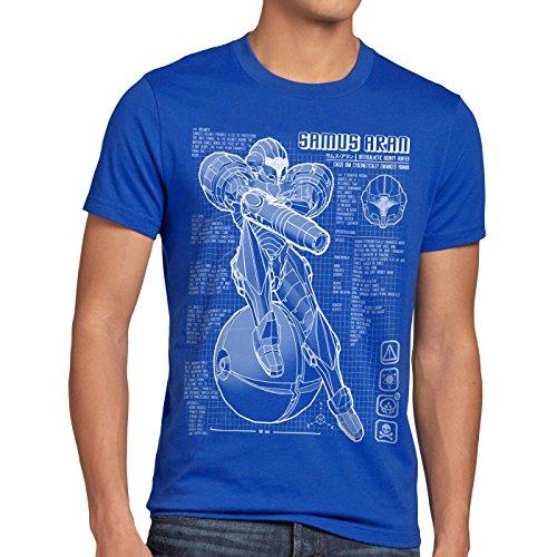A.N.T. Samus Blaupause Herren T-Shirt metroid nerd gamer nes snes switch, Größe:XL;Farbe:Blau