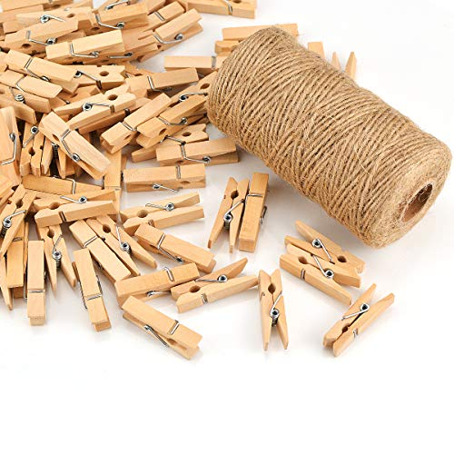 100pcs Eco-Friendly Wooden Deco clothespins, Long 3.5cm, with Jute Cord 100M (Natural)