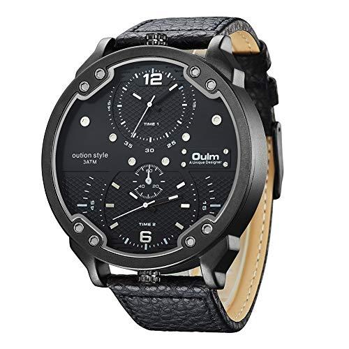 Oulm Herrenuhr Chronograph Quarzwerk Große Zweite Zeitzone Watches Mit Lederarmband HP3548M Schwarz,Black
