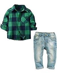 QTONGZHUANG Camisa de Manga Larga de algodón Muchachos Camisa de Mezclilla Pantalones de Mezclilla Establece Dos