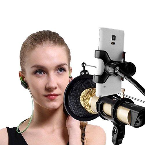 Studio Rundfunk Mikrofon Mic Aussetzung Boom Scissor Arm Ständer, Vegbirt Verstellbar Aufnahme Kondensator Mikrofon Ständer mit Pop-Filter und Handy Ständer - 3