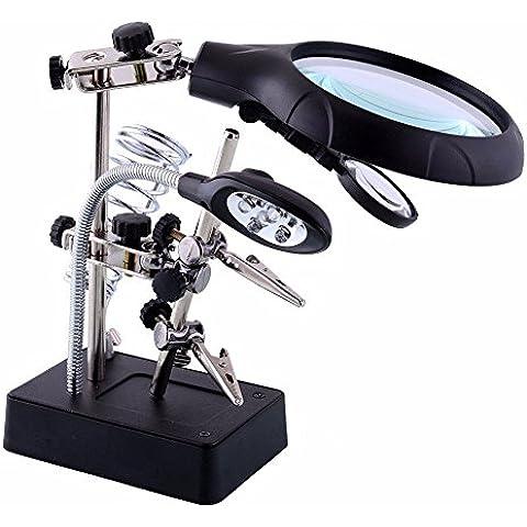 LED Illuminante Magnifier,Intsun 2.5X 7.5X 10X lente d'ingrandimento, mano con Luce (illuminazione a led bianchi), mano con supporto per saldatore, composta da LENTE INGRANDIMENTO, Supporto Saldatore x Saldature Elettroniche e 2 Pinze regolabili ideale per i tuoi lavori di saldatura e modellistica con base in ghisa pesante e vano porta saldatore a penna