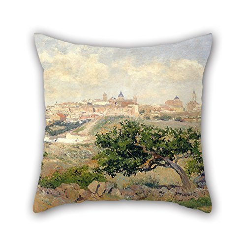 beautifulseason Oil Painting Aureliano De Beruete - View of Toledo Christmas Pillow Covers 18 X 18 Inches/45 by 45 cm for Teens Boys Chair Kids Girls Shop Car Car Seat with Twin Sides -