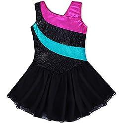 Mallot de ballet/danza con tutú para chica / vestido sin mangas con rayas multicolor, 2-11 años, niña, color negro, tamaño 4-5 Años